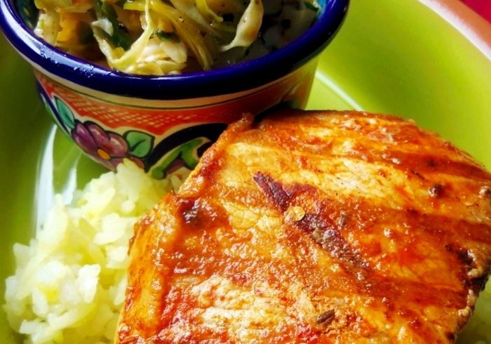 Grilled Pork Chops Marinated in Brine with Cabbage Slaw, photo by Sonia Mendez Garcia
