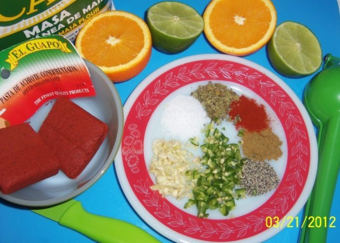 Prepping for my achiote (annatto) citrus marinade…