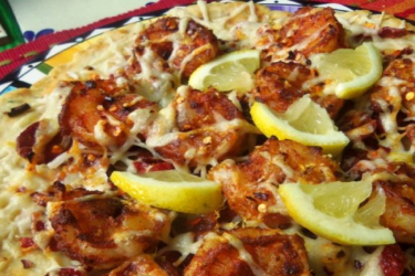 Smoky Shrimp Flatbread Pizza with Spanish Chorizo, photo by Sonia Mendez Garcia