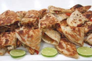 Spicy Shrimp Fajita Quesadillas, photo by Hispanic Kitchen