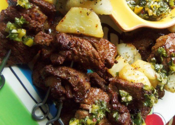 Steak & Potato Alambres With Chimichurri, photo by Sonia Mendez Garcia