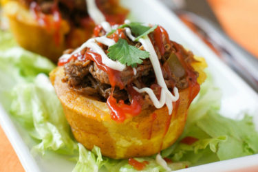 Stuffed Plantain Cups (Tostones Rellenos), photo by Vanessa Mota