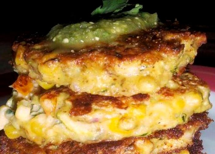 Zucchini Cakes with Tomatillo Cilantro Salsa, photo by Sonia Mendez Garcia