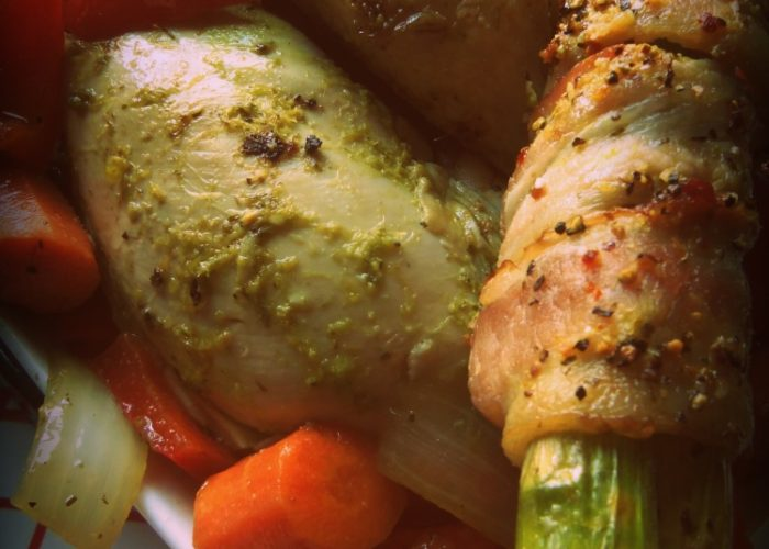 After roasting, I removed the skin from the chicken breast. Serve the chicken with roasted veggies and extra cilantro sauce.