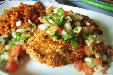 """Oven-Baked """"Fried Chicken"""" with Pico de Gallo"""