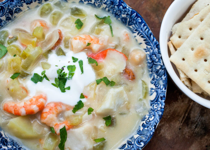Green Chile Seafood Chowder, photo by Sonia Mendez Garcia