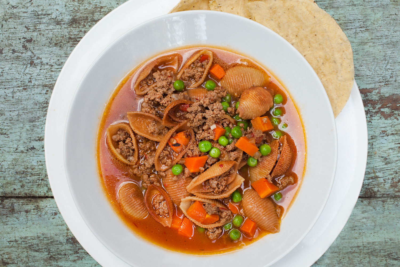 mexican ground beef picadillo soup recipe (sopa de conchas)