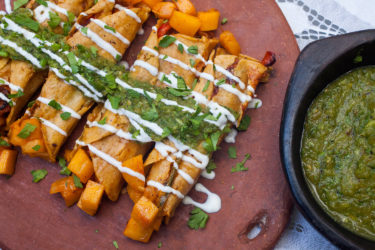 Roasted Pumpkin Taquitos With Salsa Verde