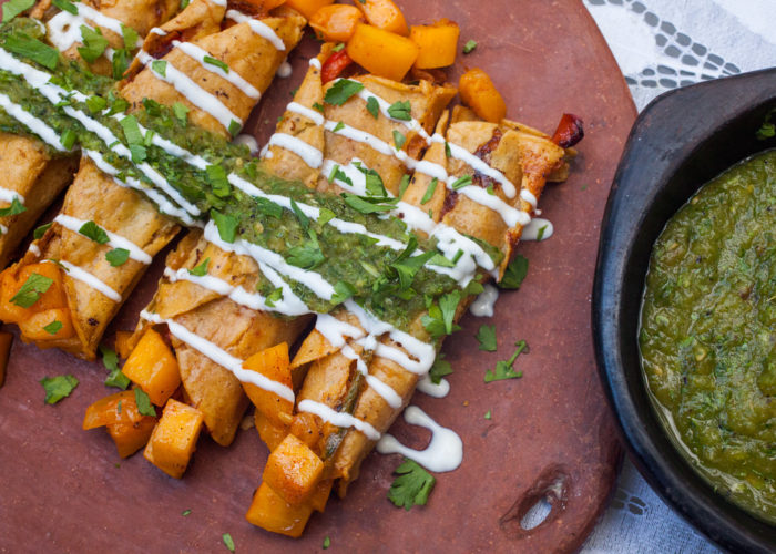 Roasted Pumpkin Taquitos With Salsa Verde, photo by Sonia Mendez Garcia