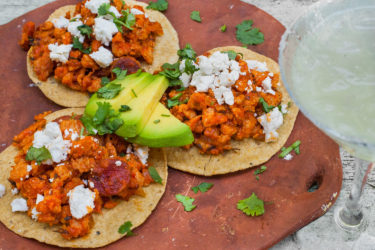 Crispy Pork Tinga Tacos or Tostadas, photo by Sonia Mendez Garcia