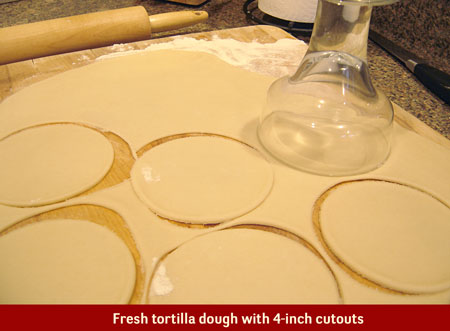 Mix flour and oil together. Stir salt into ½ cup warm water until dissolved. Gradually pour into flour/oil mixture until doughy, but not sticky. Adjust water and flour as needed. Knead for 15 minutes, divide into half and let rest for 30 minutes.