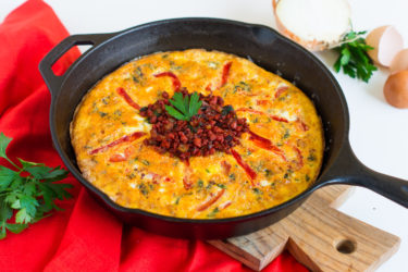 Spanish Chorizo and Roasted Red Peppers Frittata