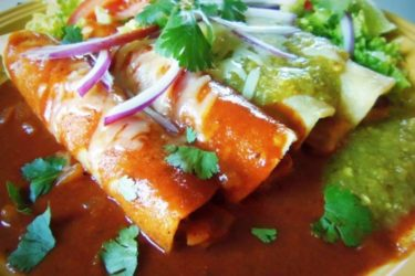Enchiladas de Papas Doradas y Nopalitos (Crispy Potato and Cactus Enchiladas)