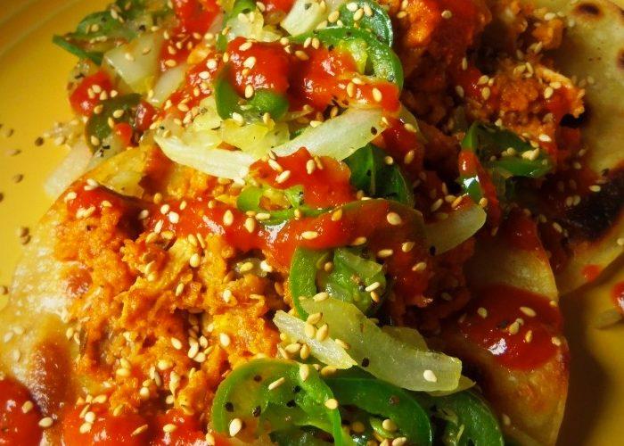 Spicy Chicken Tostadas in a Chipotle Peanut Sauce, photo by Sonia Mendez Garcia