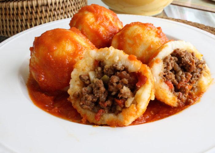 Bollos Pelones (Venezuelan Meatballs Wrapped in Arepa Dough), photo by Hispanic Kitchen