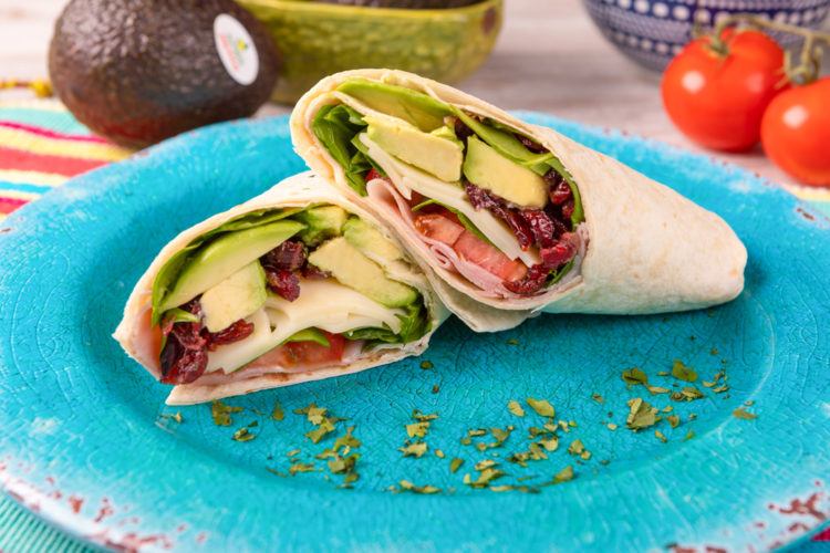 Ham, Avocado & Cranberry Wrap, photo by Avocados From Mexico