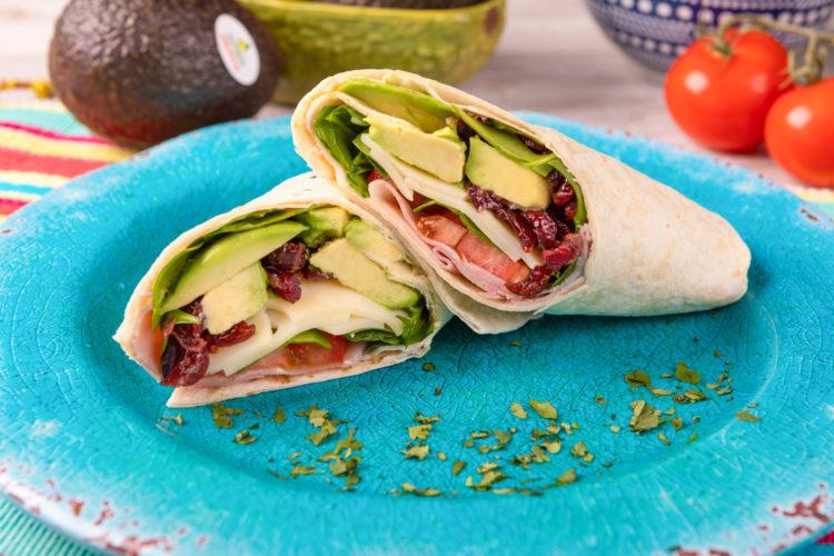 Ham, Avocado & Cranberry Wrap, photo by Avocados From Mexico