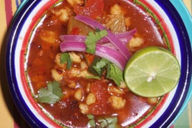 Chorizo Pozole Soup With Lime Pickled Red Onions