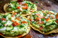 Avocado Hummus and Cucumber Pico de Gallo Tostadas, photo by Mexican Please