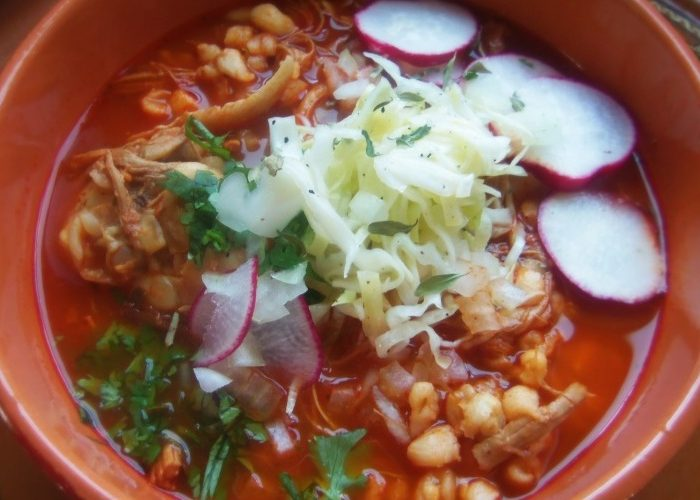 Red Chile Chicken Pozole With Roasted Tomatoes, photo by Sonia Mendez Garcia