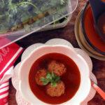 Sopa de albondiga with turkey meatballs
