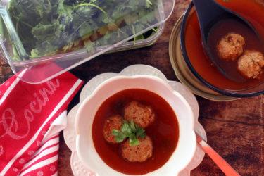 Sopa de Albóndigas with Turkey Meatballs