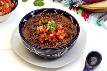 Sopa de Fideo con Frijoles Negros (Black Bean Fideo Soup), photo by Leslie Limón