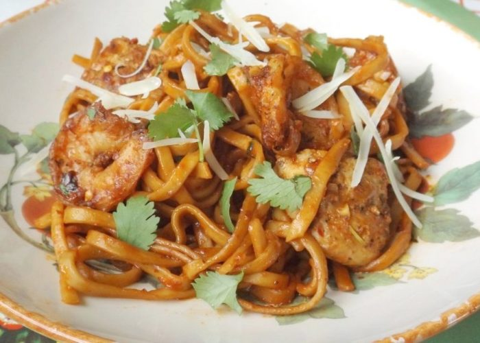 Red Chile Pasta With Chicken and Shrimp