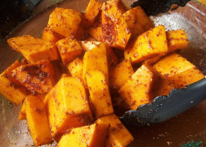 Preheat oven to 375ºF. Transfer the squash to a lined baking sheet. Season lightly with salt, pepper, garlic, cumin, smoked paprika and cinnamon or allspice. Drizzle with olive oil. Roast in preheated oven for 30 to 35 minutes or until tender. Rotate the pan halfway through cooking time.
