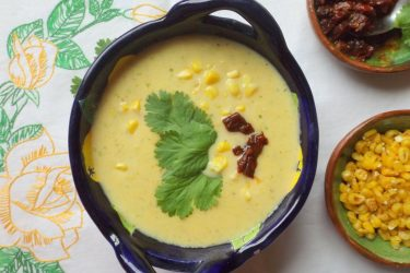Crema de Elote Con Chipotle (Creamy Corn Soup), photo by Sonia Mendez Garcia