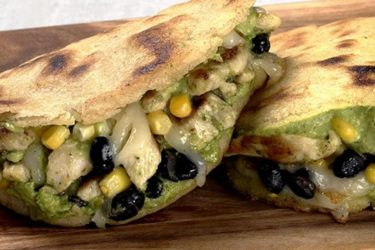 Chicken, Black Bean and Avocado Arepas With Avocado Dressing, photo by Fresh Avocados - Love One Today