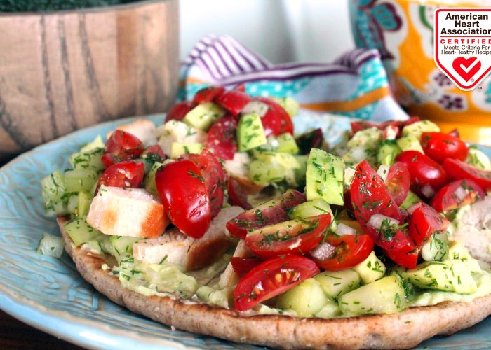 Grilled Chicken Flatbread with Avocado Yogurt and Chopped Salad, photo by Fresh Avocados - Love One Today