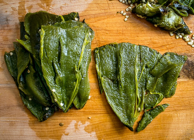 Roughly chop the poblanos and add to the saucepan.