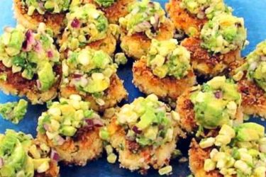 Southwest Shrimp Cakes with Lime Avocado Corn Salsa, photo by Hispanic Kitchen