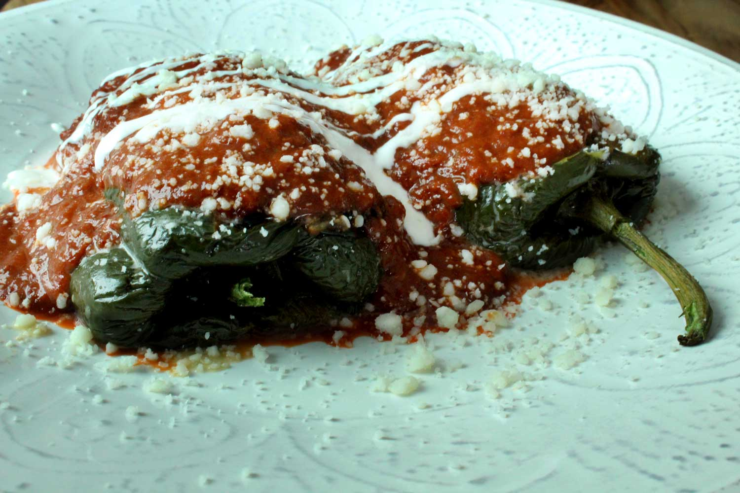 Chiles Rellenos with Queso Fresco and Chipotle Tomato Sauce