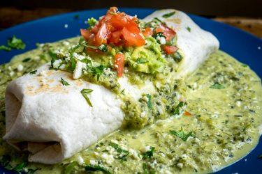 Wet Chicken Burrito With Creamy Poblano Sauce