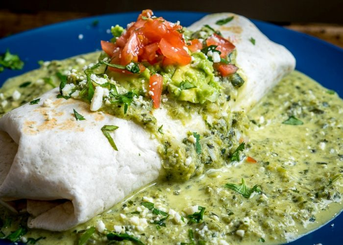 Wet Chicken Burrito With Creamy Poblano Sauce, photo by Mexican Please