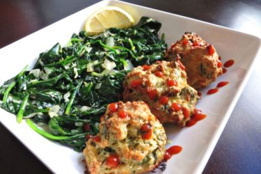 Cilantro and Lime Chicken Meatballs and Sauteed Spinach, photo by Roxy Buil