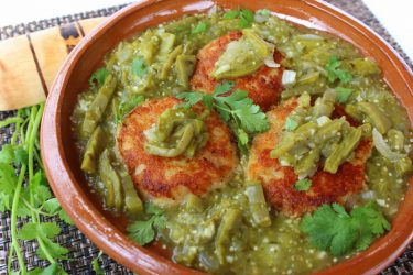 Tortitas de Papa y Camarón con Nopales (Potato Cakes with Shrimp and Nopales)