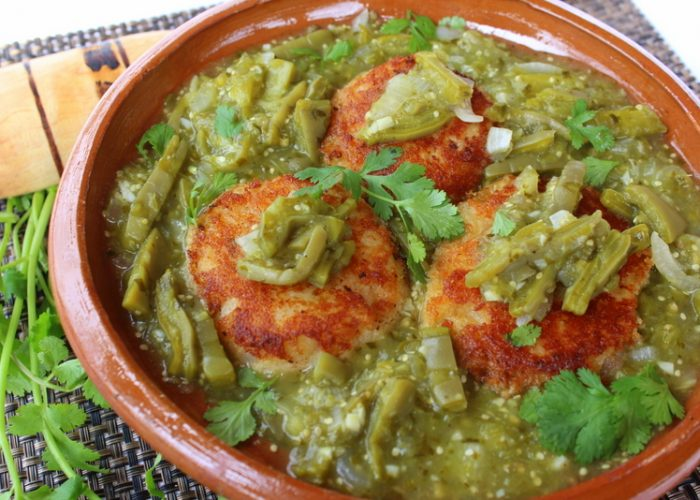 Tortitas de Papa y Camarón con Nopales (Potato Cakes with Shrimp and Nopales), photo by Sonia Mendez Garcia