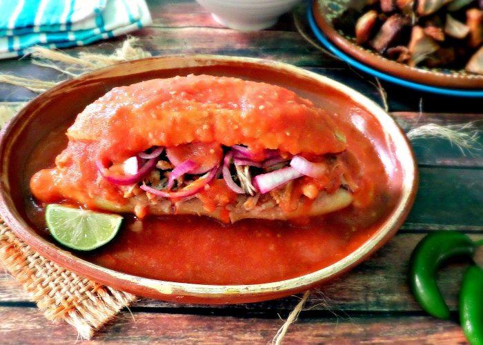 Torta Ahogada (Sloppy Carnitas Sandwich), photo by Leslie Limón