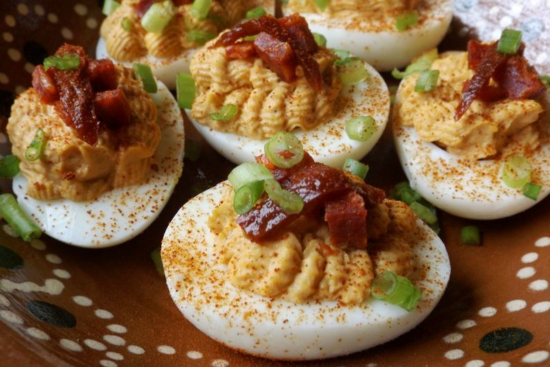 Chipotle Deviled Eggs with Chorizo