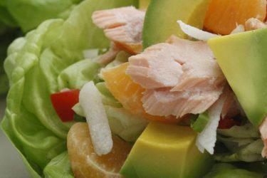 Lettuce Cups with Avocado, Tangerine and Salmon
