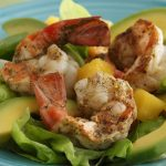 Tropical Salad with Avocado and Grilled Shrimp