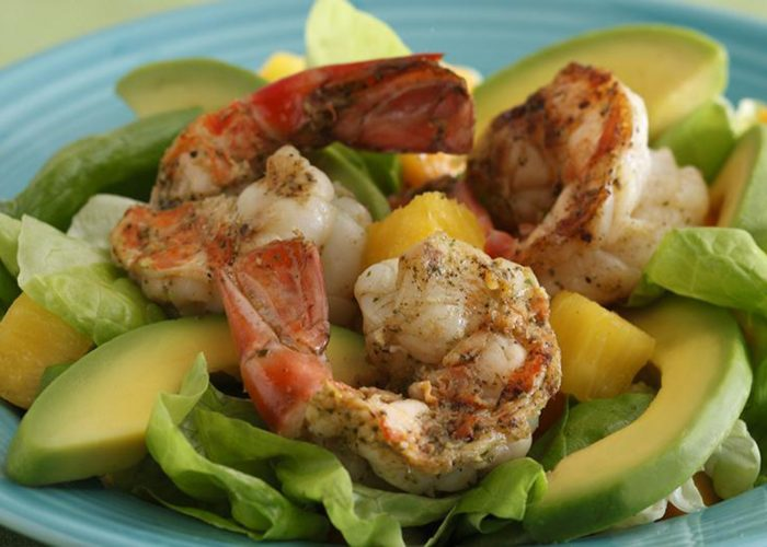 Tropical Salad with Avocado and Grilled Shrimp, photo by Fresh Avocados - Love One Today