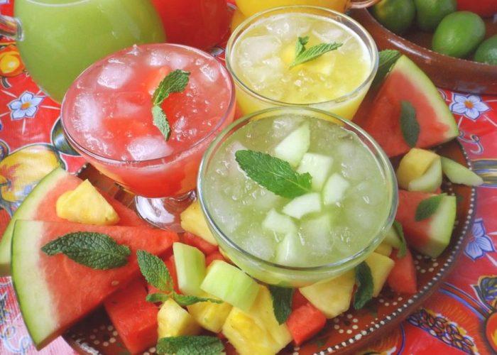 Trio of Agua Frescas (Fruit Waters), photo by Sonia Mendez Garcia