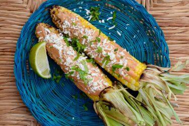 Elotes Asados con Aderezo Guajillo (Grilled Corn on the Cob with Guajillo Dressing)