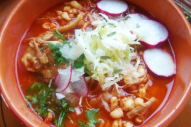 Red Chile Chicken Posole with Roasted Tomatoes