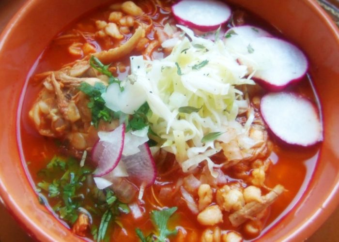 Red Chile Chicken Posole with Roasted Tomatoes, photo by Sonia Mendez Garcia