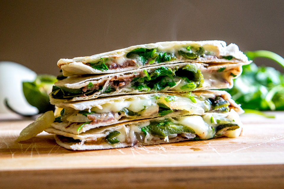 Roasted Poblano Quesadillas with Avocado Salsa Verde